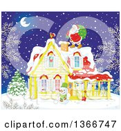 Clipart Of Santa On A Roof Top On A Snowy Christmas Eve Night Royalty Free Vector Illustration by Alex Bannykh