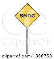 Clipart Of A 3d Yellow SMOG Warning Sign On White Royalty Free Illustration