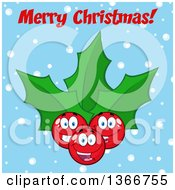 Clipart Of A Cartoon Merry Christmas Greeting Over A Holly Berry And Leaves Character On Blue Royalty Free Vector Illustration by Hit Toon