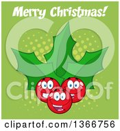 Clipart Of A Cartoon Merry Christmas Greeting Over A Holly Berry And Leaves Character On Green Royalty Free Vector Illustration by Hit Toon