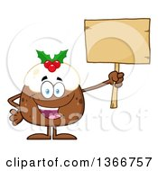 Clipart Of A Cartoon Christmas Pudding Character Holding A Blank Wood Sign Royalty Free Vector Illustration