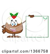 Clipart Of A Cartoon Christmas Pudding Character Holding A Blank Sign Royalty Free Vector Illustration