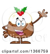 Clipart Of A Cartoon Christmas Pudding Character Waving Royalty Free Vector Illustration by Hit Toon