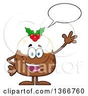Clipart Of A Cartoon Christmas Pudding Character Talking And Waving Royalty Free Vector Illustration