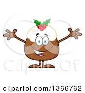 Clipart Of A Cartoon Christmas Pudding Character Welcoming Royalty Free Vector Illustration