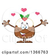 Clipart Of A Cartoon Christmas Pudding Character Welcoming With Hearts Royalty Free Vector Illustration
