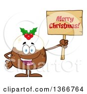 Clipart Of A Cartoon Christmas Pudding Character Holding A Merry Christmas Royalty Free Vector Illustration