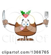Clipart Of A Cartoon Hungry Christmas Pudding Character Holding Silverware Royalty Free Vector Illustration