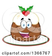 Clipart Of A Cartoon Happy Christmas Pudding Character On A Cake Royalty Free Vector Illustration by Hit Toon