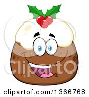 Clipart Of A Cartoon Happy Christmas Pudding Character Royalty Free Vector Illustration