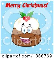Clipart Of A Cartoon Happy Christmas Pudding Character With Merry Christmas Text On Blue Royalty Free Vector Illustration by Hit Toon
