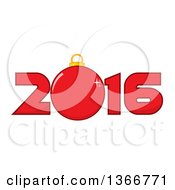 Clipart Of A Cartoon Red Bauble Ornament In A New Year 2016 Royalty Free Vector Illustration
