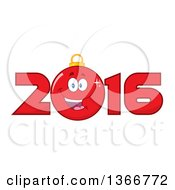 Clipart Of A Cartoon Red Bauble Ornament Character In A New Year 2016 Royalty Free Vector Illustration by Hit Toon