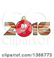Clipart Of A Cartoon Red Bauble Ornament Character In A Striped New Year 2016 Royalty Free Vector Illustration by Hit Toon
