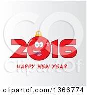 Cartoon Red Bauble Ornament Character In 2016 Over Happy New Year Text