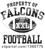 Black And White Property Of Falcons Football XXL Design