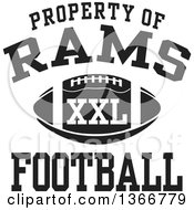 Black And White Property Of Rams Football XXL Design
