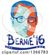 Clipart Of A Retro Styled Face Of Bernie Sanders Democratic 2016 Presidential Candidate With Text Royalty Free Vector Illustration