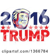 Clipart Of A Retro Donald Trump Portrait In 2016 Trump Text Royalty Free Vector Illustration