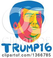 Retro Donald Trump Portrait Over Text