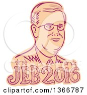 Clipart Of A Retro Sketched Portrait Of Jeb Bush With Text Royalty Free Vector Illustration by patrimonio