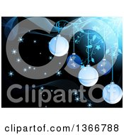Clipart Of A Christmas Background Of Suspended Bauble Ornements And Floral Vines With Stars On Black And Mesh Waves Royalty Free Vector Illustration