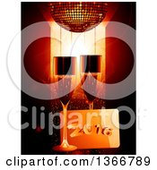 Clipart Of 3d Champagne Glasses With New Year 2016 Plaue And A A Gold Disco Ball Royalty Free Vector Illustration