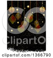 Clipart Of A Christmas Background With Gold And Red Scribble Baubles Hanging Over Gold Stars And Snow With Grunge On Black Royalty Free Vector Illustration