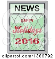 Clipart Of A Happy Holidays 2016 News Design With Snowflakes On Green Royalty Free Vector Illustration by elaineitalia