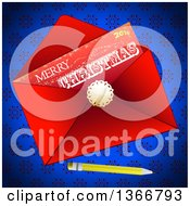 Clipart Of A 2016 Merry Christmas Letter In A Red Envelope With A Pencil On Blue Snowflakes Royalty Free Vector Illustration