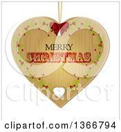 Clipart Of A Retro Merry Christmas Wooden Heart Shaped Ornament With Holly Royalty Free Vector Illustration
