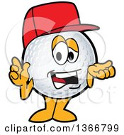 Clipart Of A Golf Ball Sports Mascot Character Wearing A Red Hat And Talking Royalty Free Vector Illustration by Toons4Biz