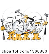 Clipart Of A Team Of Golf Ball Sports Mascot Winners Cheering And Holding Clubs Royalty Free Vector Illustration by Toons4Biz