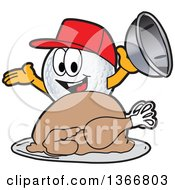 Clipart Of A Golf Ball Sports Mascot Character Wearing A Red Hat And Serving A Roasted Thanksgiving Turkey Royalty Free Vector Illustration