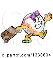 Clipart Of A Golf Ball Sports Mascot Character Wearing A Hawaiian Lei And Sunglasses Walking With A Rolling Suitcase Royalty Free Vector Illustration