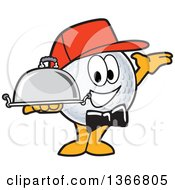 Clipart Of A Golf Ball Sports Mascot Character Waiter Wearing A Red Hat Presenting And Holding A Cloche Platter Royalty Free Vector Illustration