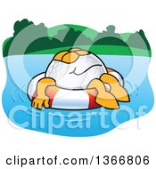 Clipart Of A Golf Ball Sports Mascot Character Floating On A Life Buoy Water Hazard Royalty Free Vector Illustration