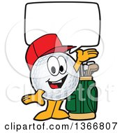 Clipart Of A Golf Ball Sports Mascot Character Wearing A Red Hat Talking And Welcoming Royalty Free Vector Illustration by Toons4Biz