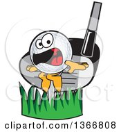 Clipart Of A Golf Ball Sports Mascot Character Being Whacked By A Club Royalty Free Vector Illustration