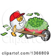Golf Ball Sports Mascot Character Wearing A Red Hat And Pushing Cash Money In A Wheel Barrow
