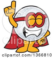 Clipart Of A Super Golf Ball Sports Mascot Character Wearing A Red Hat And Holding Up A Finger Royalty Free Vector Illustration