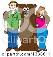 Clipart Of A Grizzly Bear School Mascot Character Posing With Parents Royalty Free Vector Illustration