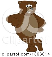 Clipart Of A Grizzly Bear School Mascot Character Leaning Royalty Free Vector Illustration