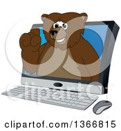 Clipart Of A Grizzly Bear School Mascot Character Emerging From A Desktop Computer Screen Royalty Free Vector Illustration
