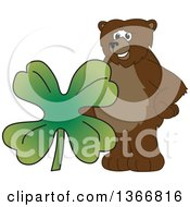 Clipart Of A Grizzly Bear School Mascot Character With A Four Leaf St Patricks Day Clover Royalty Free Vector Illustration
