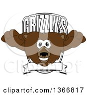 Clipart Of A Grizzly Bear School Mascot Character Leaping Forward Over A Grizzlys Shield Royalty Free Vector Illustration