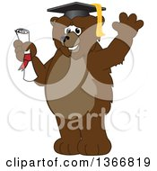 Clipart Of A Grizzly Bear School Mascot Character Graduate Holding A Diploma And Waving Royalty Free Vector Illustration