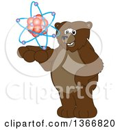 Clipart Of A Grizzly Bear School Mascot Character Holding An Atom Royalty Free Vector Illustration