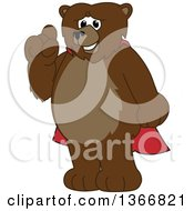 Clipart Of A Grizzly Bear School Mascot Character Wearing A Cape And Holding Up A Finger Royalty Free Vector Illustration