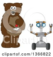 Clipart Of A Grizzly Bear School Mascot Character Controlling A Robot Royalty Free Vector Illustration